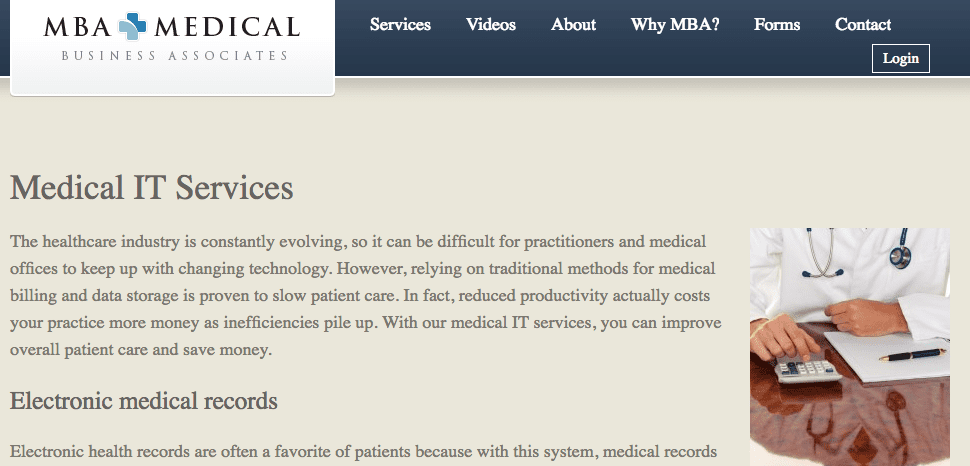 MBA Medical Services internal page