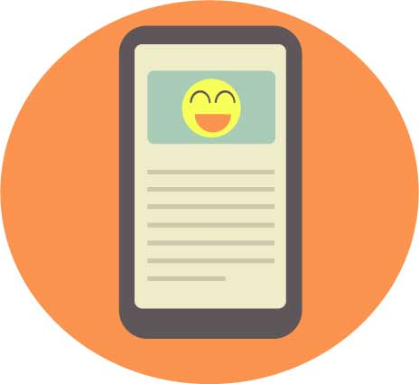 Smartphone vector image with smiley face. Created by Shari Rose.