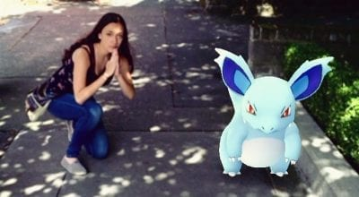 Shari Rose posing with Nidorina in Seattle
