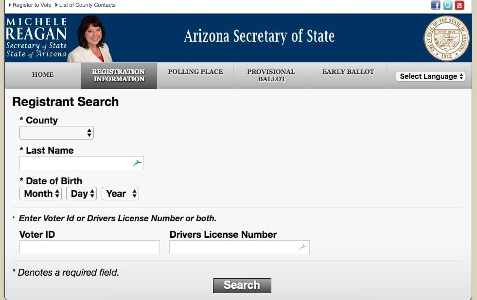 Find your Arizona voter registration status at the Secretary of State's website