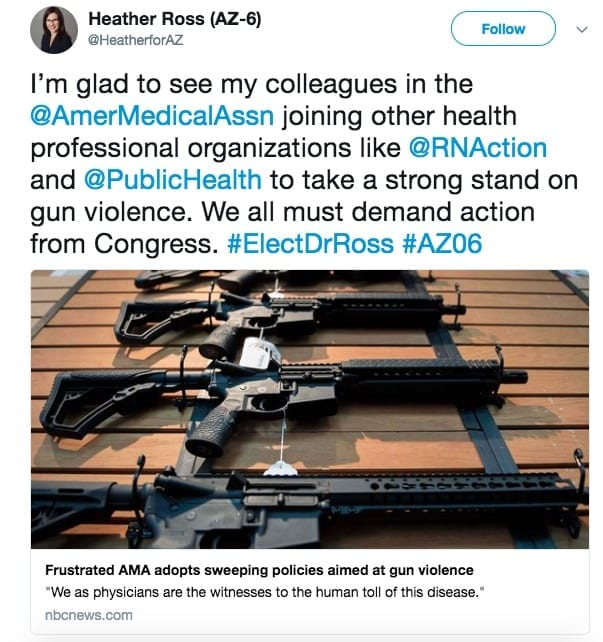 Heather Ross on Twitter praising the AMA for adopting gun violence policies.