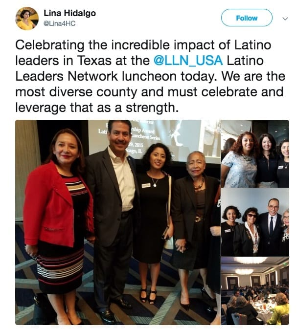Lina Hidalgo at the Latinos Leaders Network, representing Harris County.