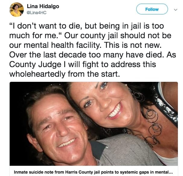 Lina Hidalgo facebook post about harris county prisoner suicide rates.
