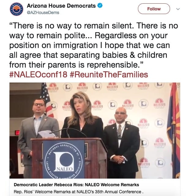 Arizona House Democrats' tweet showing Rep Rios speaking at the NALEO conference