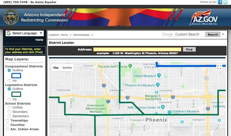 Arizona Independent Redistricting Commission screenshot for finding polling locations