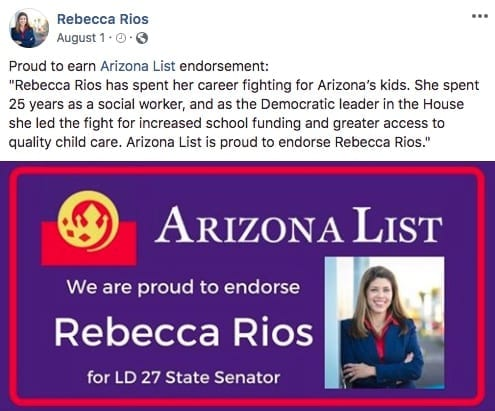 Rep Rebecca Rios is endorsed by Arizona List for state Senate