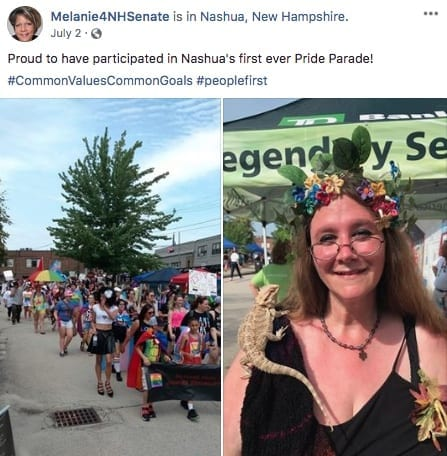 Melanie Levesque showing support at Nashua's first Gay Pride event