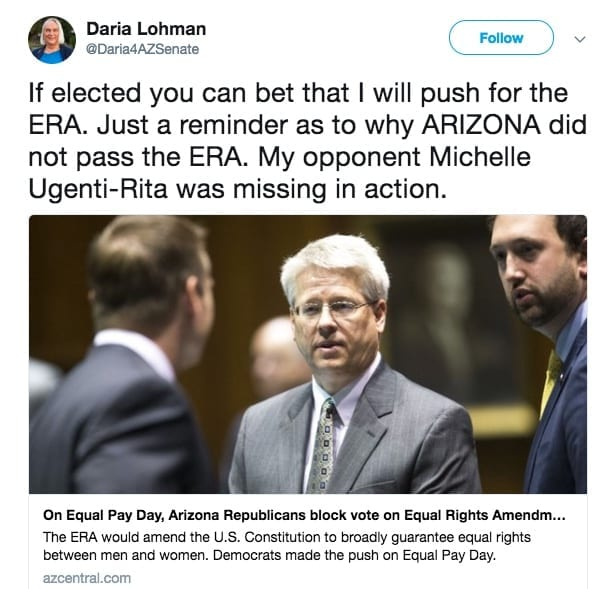 Dariah Lohman Twitter post about Arizona GOP's refusal to pass the Equal Rights Amendment.