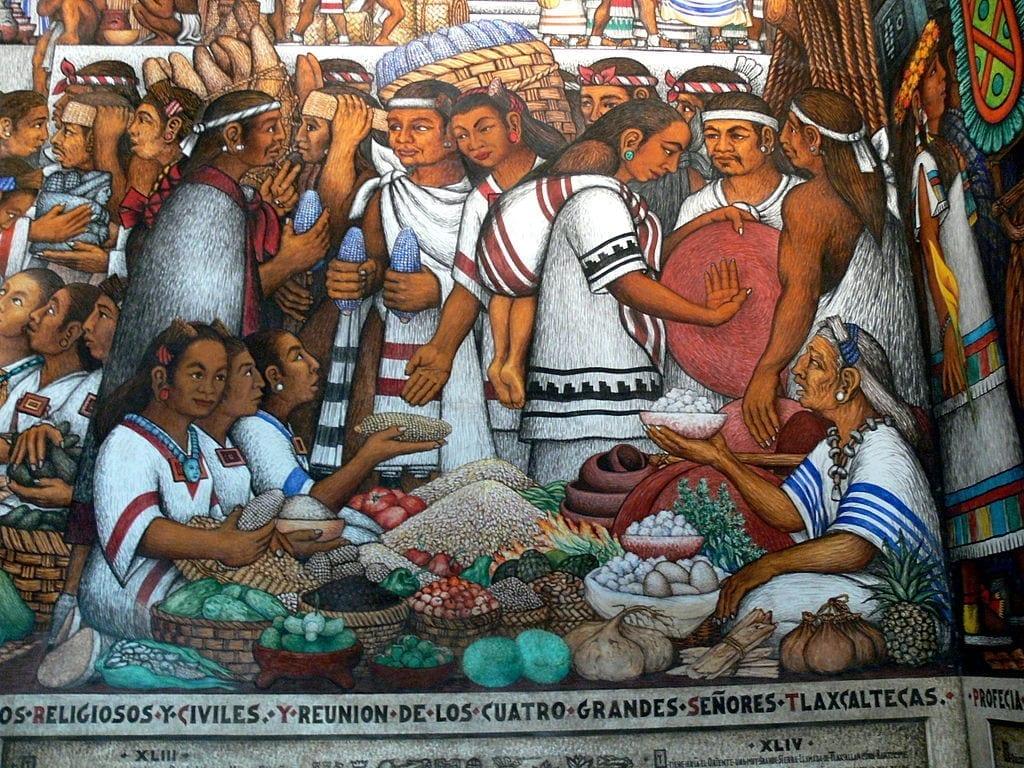 Aztec market in Tenochtitlan
