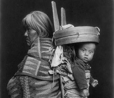Navajo baby in papoose