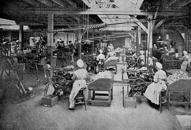Young, unmarried women working in factory.